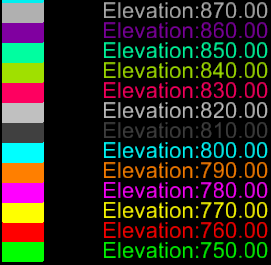 InRoads Tip Color-Coded Elevations